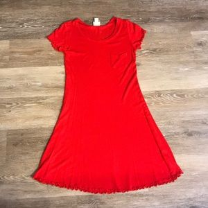 Red dress with rayon material